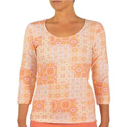 Hearts of Palm Womens Portuguese Tile 3/4 Sleeve Top