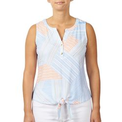 Hearts of Palm Womens Stripes Tie Front Sleeveless Top