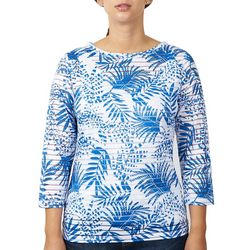 Hearts of Palm Womens Leaf & Stripe Texture Overlay Top