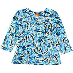 Hearts of Palm Womens Essentials Abstract Paint Print Top