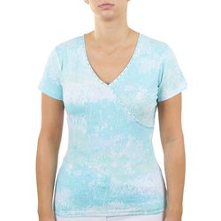 Hearts of Palm Womens Fitted Embellished Neckline Top