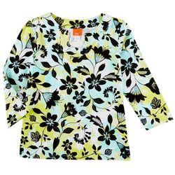 Hearts of Palm Womens Floral Print 3/4 Sleeve Top