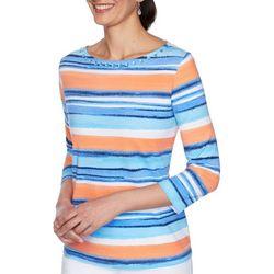OneWorld Womens Bright Printed 3/4 Sleeve Top