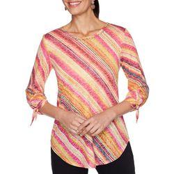 Ruby Road Favorites Womens Tie Sleeve Printed Top