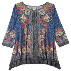 Ruby Road Womens Embellished Placed Print 3/4 Sleeve Top