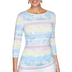 OneWorld Womens Colorful Print 3/4 Sleeve Top