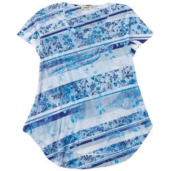 One World Women's Floral High-low Short Sleeve Top
