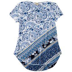 OneWorld Womens Embellished Paisley Round Neck Top