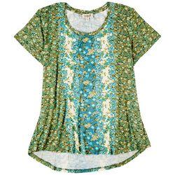 OneWorld Womens Scarf Print Short Sleeve Top