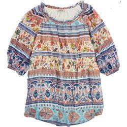 OneWorld Womens Printed Flowy Short Sleeve Top