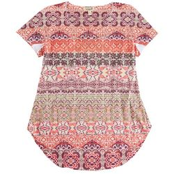 OneWorld Womens Mixed Of Patterns Round Neck Top