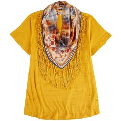 OneWorld Womens Scarf & Textured Top
