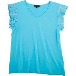 Tint & Shadow Womens Solid Ruffled Sleeve Top