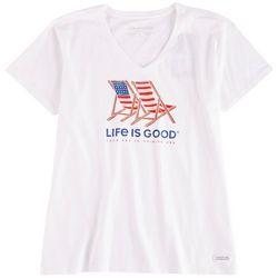 Life Is Good Womens Americana Beach Chairs T-Shirt