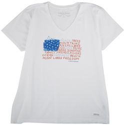Life Is Good Womens American Flag T-Shirt