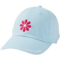 Life Is Good Womens Pink Flower Embroidery Baseball Hat