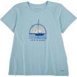Life Is Good Womens Rainbow Sailing Crusher T-Shirt