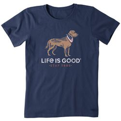 Life Is Good Womens Dog and American Scarf T-Shirt
