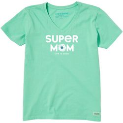 Life Is Good Womens Super Mom V-Neck T-Shirt