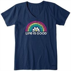Life Is Good Womens Daisy Rainbow Crusher Shirt