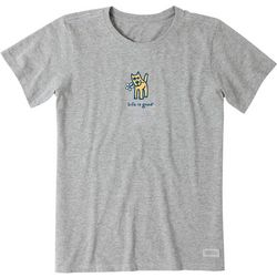 Life Is Good Womens Graphic Dog Crusher T-Shirt