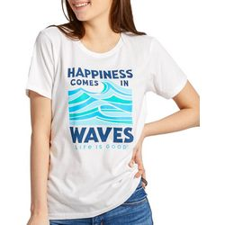 Life Is Good Womens Happiness Comes In Waves Crusher Shirt