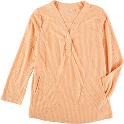 Kaktus Womens Henley Dot Knit Long Sleeve Top