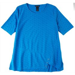 Erin London Womens Textured Solid Color Top