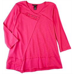Erin London Womens Button Embellished 3/4 Top