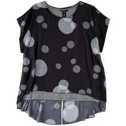 Erin London Womens Dotted Overlay Top
