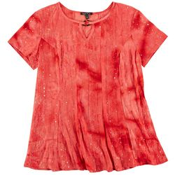 Sami & Jo Womens Sequin Short Sleeve With Keyhole Neck Top
