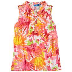 Fresh Womens Smocked Neckline Tropical Sleeveless Top