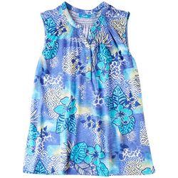 Fresh Womens Button Placket Blue Hibiscus Sleeveless Top