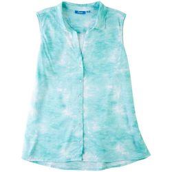 Fresh Womens Tie-Dye Button Down Sleeveless Shirt