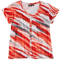 Onque Casual Womens Floral Button Down Placket Top