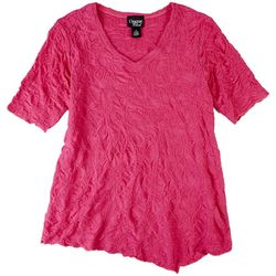 Onque Casual Womens Textured Solid Short Sleeve Top