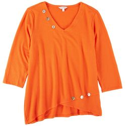 Coral Bay Womens Textured Tunic 3/4 Sleeve Top