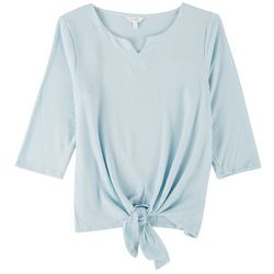 Coral Bay Womens Tie Front 3/4 Sleeve Top