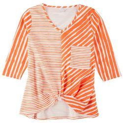 Coral Bay Womens Mixed Print Tunic 3/4 Sleeve Top