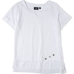 Onque Casual Womens Solid Textured Top