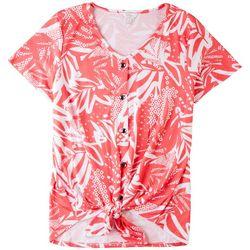 Coral Bay Womens Pink Jungle Short Sleeve Top