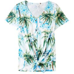 Coral Bay Womens Palm Trees Button Down Top