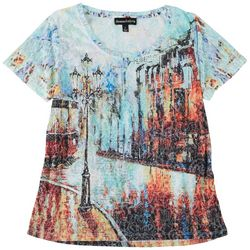 Thomas & Olivia Womens See Through Floral Effect Top