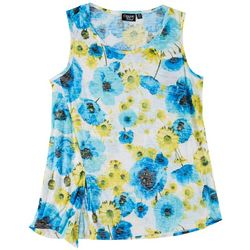 Onque Casual Womens Lemonade Floral Sleeveless Top