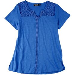 Onque Casual Womens Crocheted Split Neck Solid Top