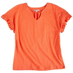 Sportelle Womens Ruffled Sleeves Split Neck Solid Top