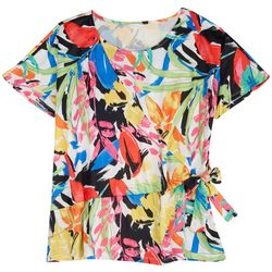 Coral Bay Womens Abstract Side Tie Short Sleeve Top