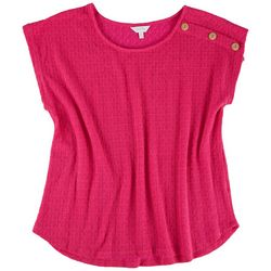 Coral Bay Womens Three-Button Shoulder Detail Top
