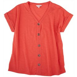 Coral Bay Womens Textured Button Placket Top