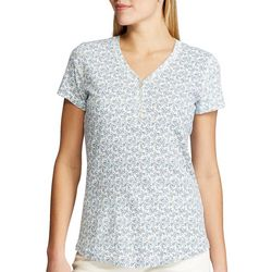 Chaps Womens Floral Henley V-Neck Top